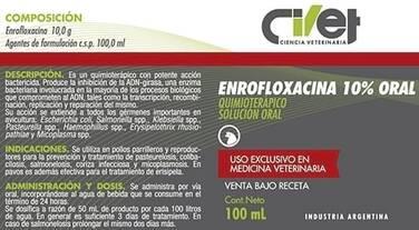 CIVET ENROFLOXACINA 10% ANTIBIÓTICO - SOLUCIÓN ORAL
