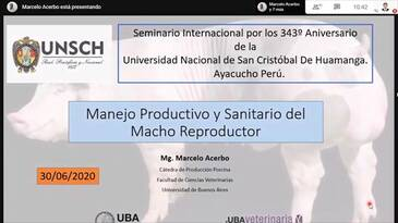 Macho reproductor, Manejo productivo y sanitario: Marcelo Acerbo