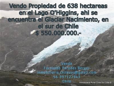 Vendo 638 hectáreas en el Lago O'higgins en el sur de Chile