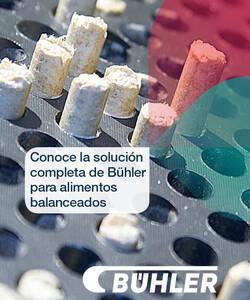 Bühler cuenta con equipos de mezclado, molienda, peletizado, extrusión, secado y mucho más. Aplicable para la producción de alimentos balanceados, alimento para mascotas y peces.