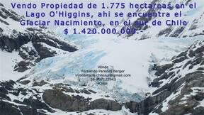 Vendo 1.775 hectáreas en el Lago O'higgins en el sur de Chile