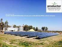 Molino y planta de generacion solar fotovoltaica en Belen, Uruguay.