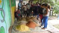 Alumnos del campo elaboraron harina de roca. Esteli, Nicaragua