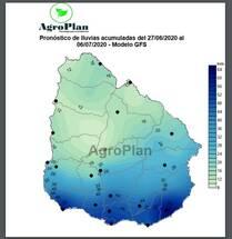Uruguay: Pronóstico lluvias acumulados 27/6/2020 al 6/7/2020