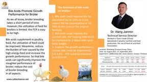 El efecto de los ácidos biliares en la mejora del crecimiento de los pollos de engorde.