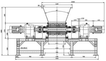 Triturador de dos ejes. Planos completos para su fabricación.
