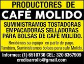 maquinaria e insumos para la industria del cafe.TOSTADORAS EMPACADORAS SACOS Y BOLSAS PARA EMPACAR C