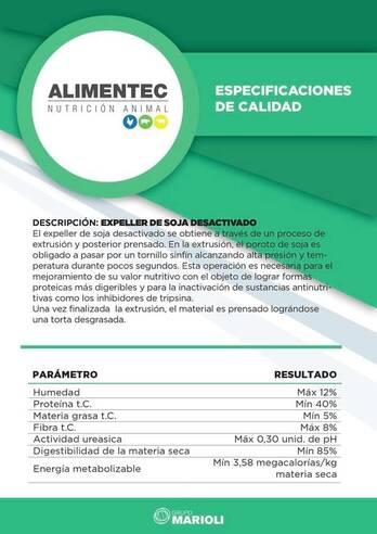 EXPELLER Y PELLET DE SOJA 40%