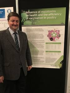 "#WPA2017  Meet our Colleague Andrew Lunt, with our poster on ""Influence of Mycotoxins on health and efficiency of vaccination in poultry"""