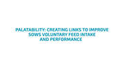 Palatability: Creating links to improve Sows voluntary feed intake performance