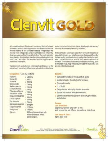 Clenvit Gold - Methochelated Minerals with herbal galactogogues.