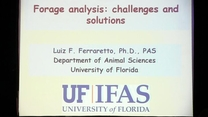 Forage analysis: challenges and solutions